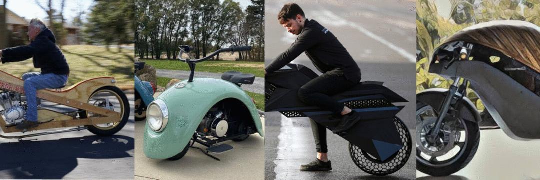 Motos inusitadas feitas de partes de Fusca, impressora 3D, madeira e bambu